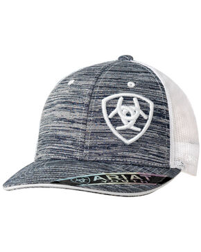 Ariat Youth Heather Logo Trucker Cap, White, hi-res