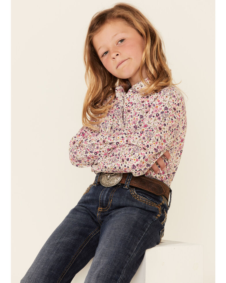 Shyanne Girls' Pink Ditsy Floral Print Long Sleeve Snap Western Shirt , Fuscia, hi-res