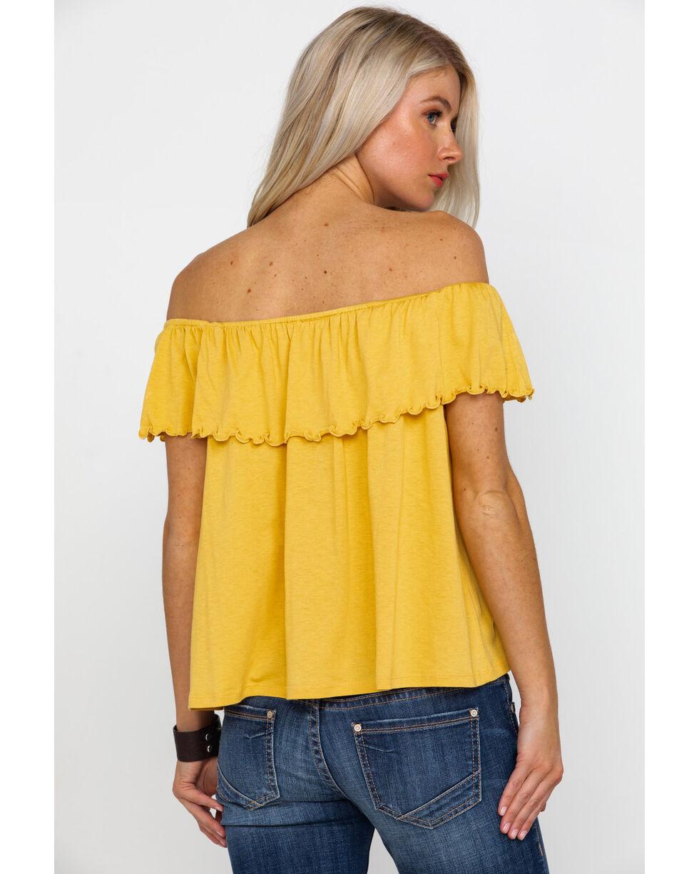 Panhandle Women's Red Label Mustard Off Shoulder Flounce Knit Top, Dark Yellow, hi-res