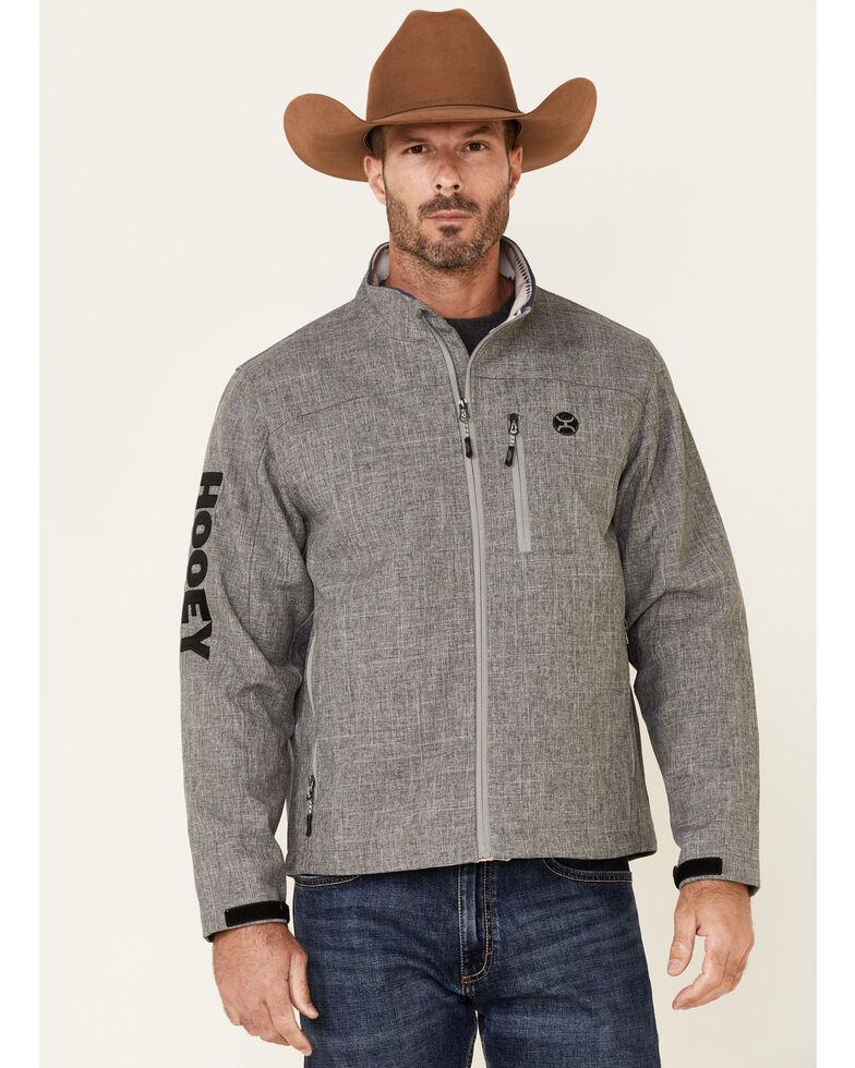HOOey Men's Solid Grey Sleeve Logo Zip-Front Softshell Jacket , Grey, hi-res