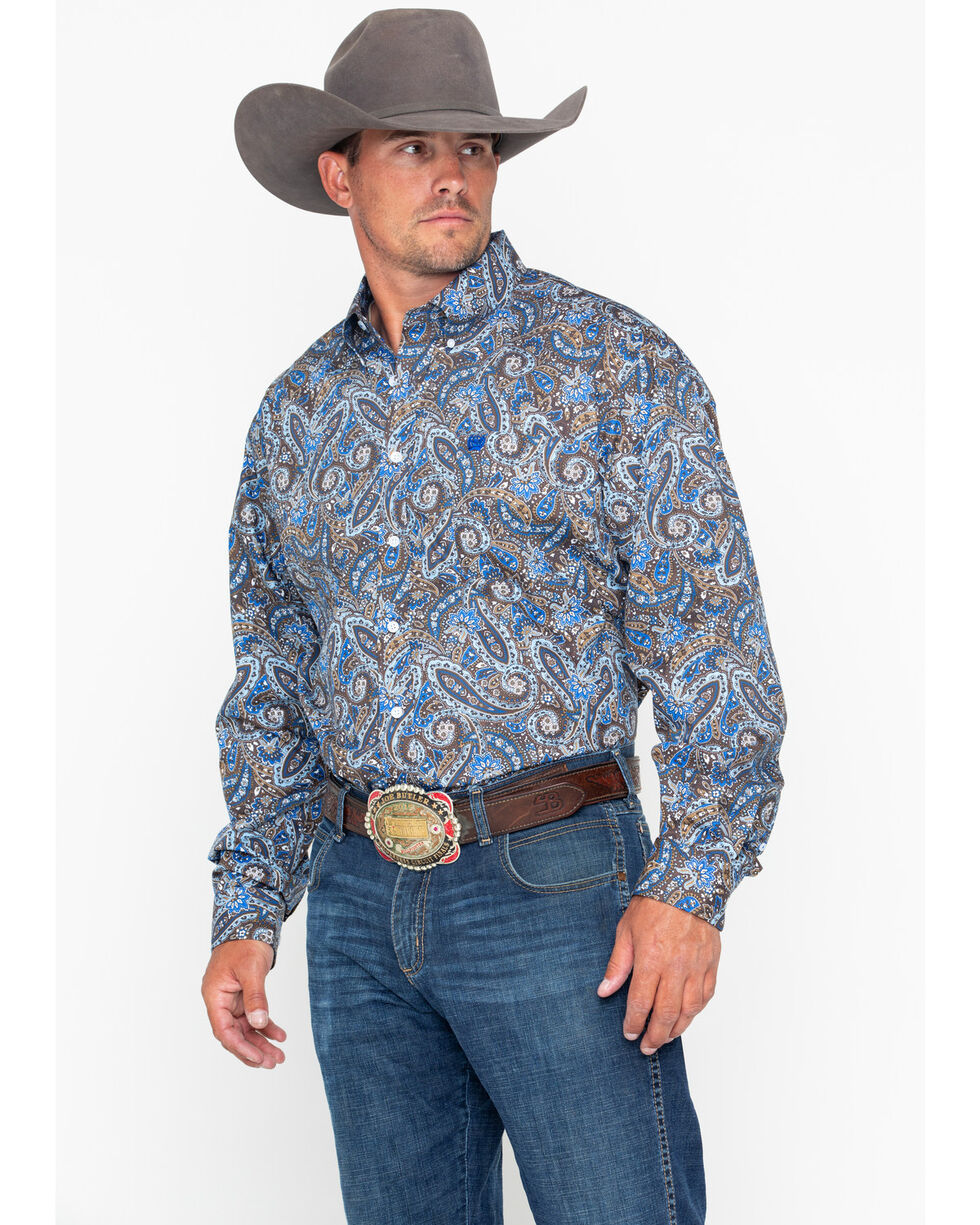 Cinch Men's Blue Paisley Print Western Shirt , Burgundy, hi-res