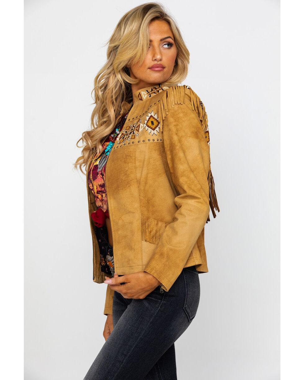 Scully Women's Aztec Buckskin Beaded Fringe Jacket , Tan, hi-res