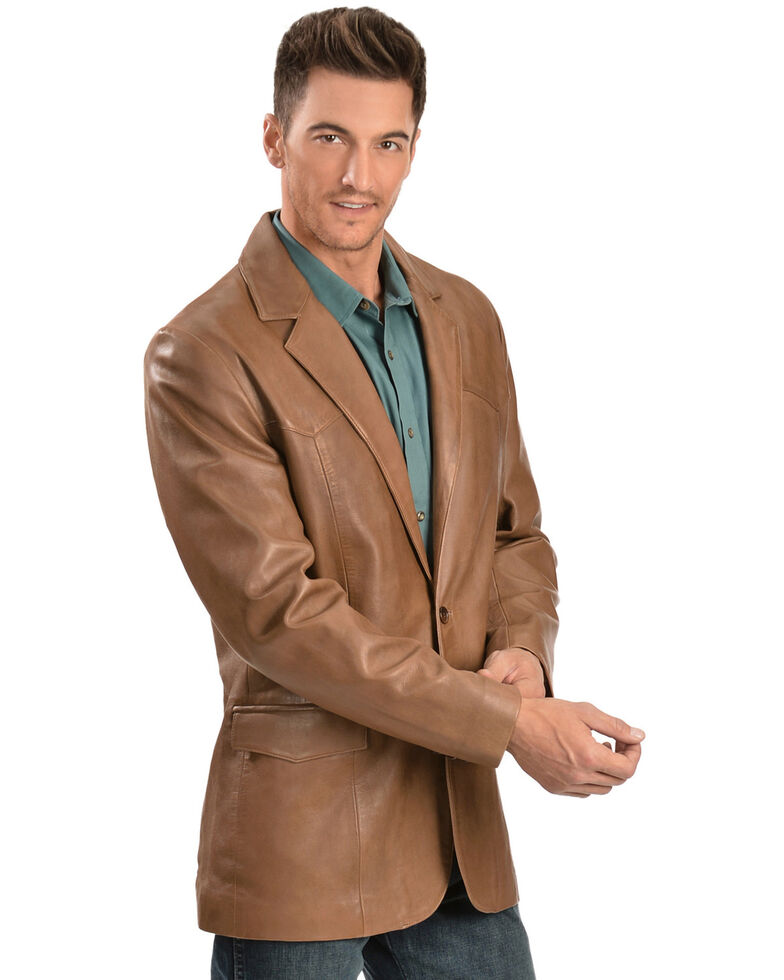 Scully Lamb Leather Blazer - Big, Medium Brown, hi-res