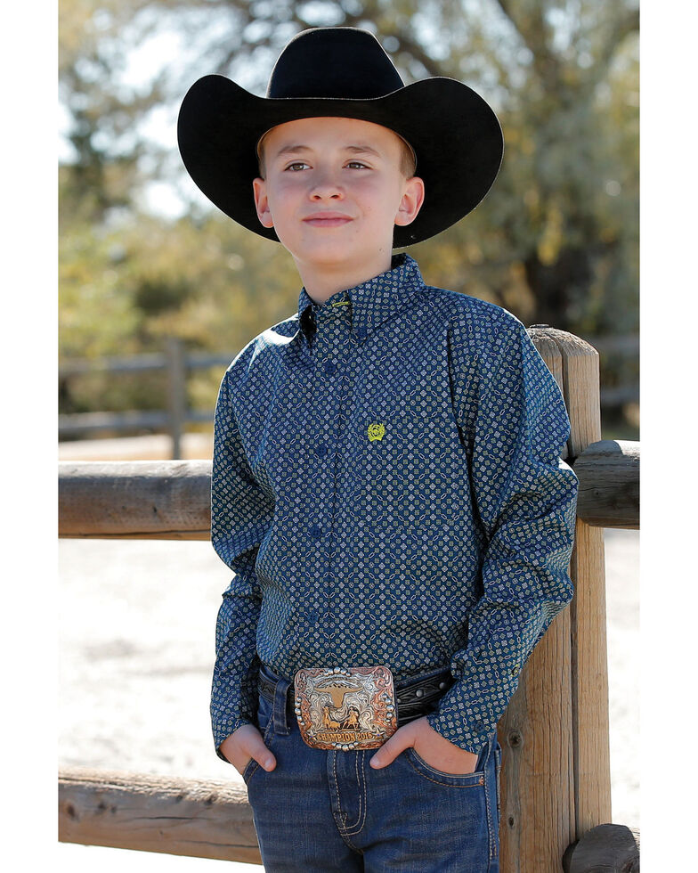 Cinch Boys' Blue Geo Print Long Sleeve Western Shirt , Blue, hi-res