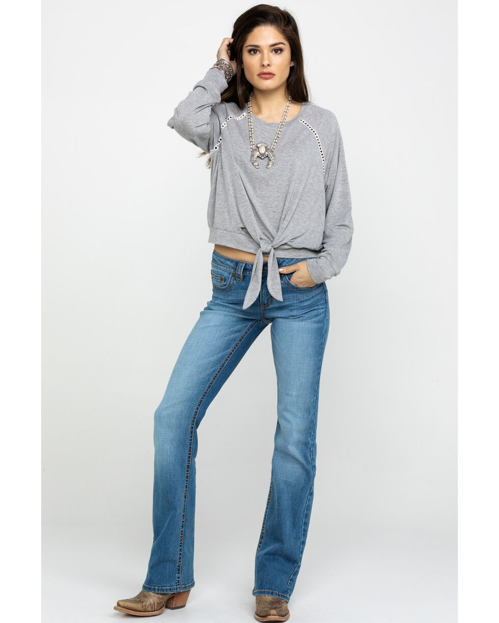 Shyanne Women's Grey Tie-Up Knit Long Sleeve Top , Grey, hi-res