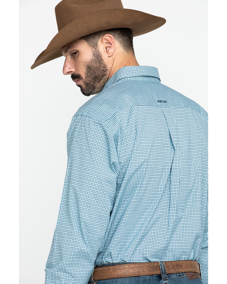Ariat Men's Novato Small Plaid Long Sleeve Western Shirt - Big , Turquoise, hi-res