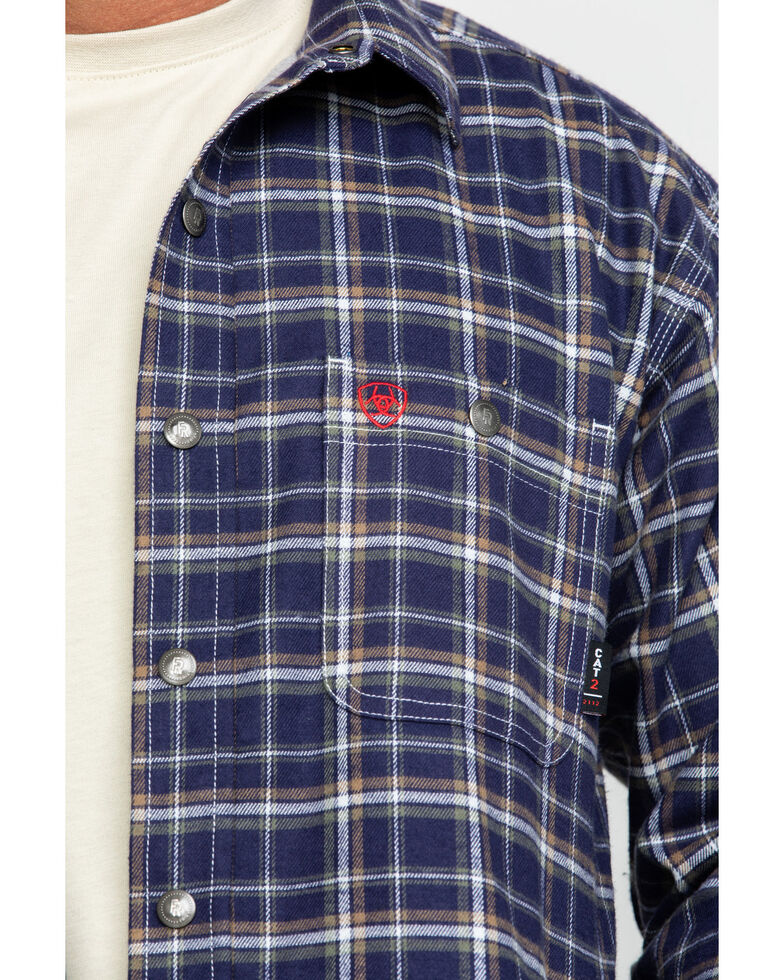 Ariat Men's FR Monument Plaid Work Shirt Jacket , Navy, hi-res