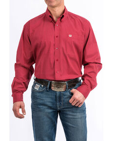 Cinch Men's Red Geo Tencel Print Button Long Sleeve Western Shirt , Red, hi-res