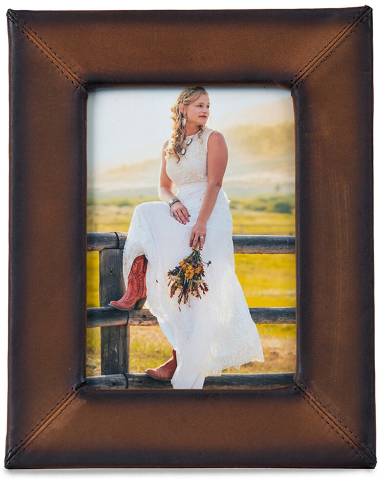 Carroll Co. Leather Picture Frame, Brown, hi-res