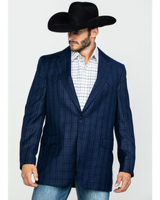 Cripple Creek Men's Window Pane Plaid Houston Sport Coat - Big , Blue, hi-res
