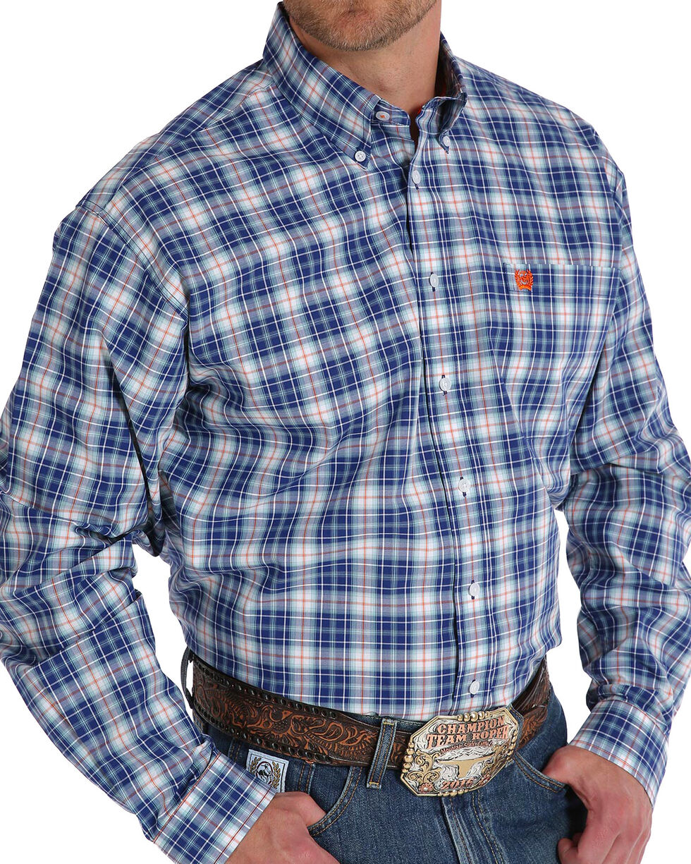 Cinch Men's Navy Plaid Long Sleeve Button Down Shirt - Big , Navy, hi-res