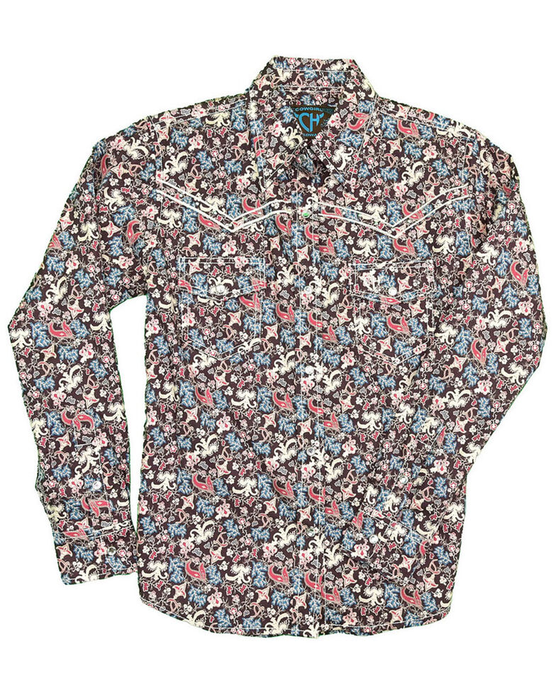 Cowgirl Hardware Girls' Multi Floral Print Long Sleeve Western Shirt , Multi, hi-res