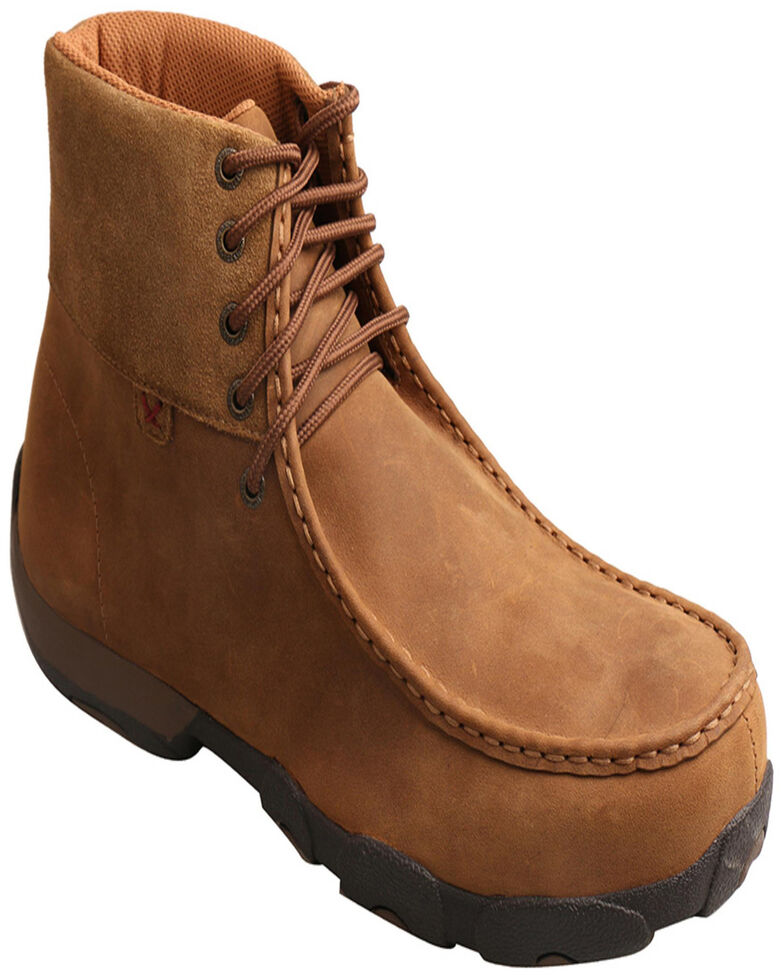 """Twisted X Men's 6"""" Work Driving Moc - Alloy Toe, Brown, hi-res"""