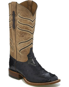 Tony Lama Men's Black Hermoso Full Quill Ostrich Cowboy Boots - Square Toe, Black, hi-res