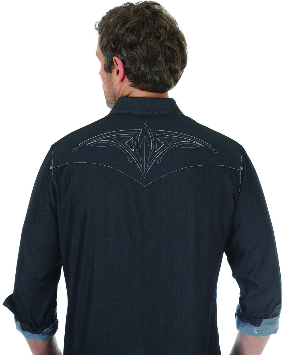 Wrangler Rock 47 Men's Black Embroidered Long Sleeve Snap Shirt, Black, hi-res
