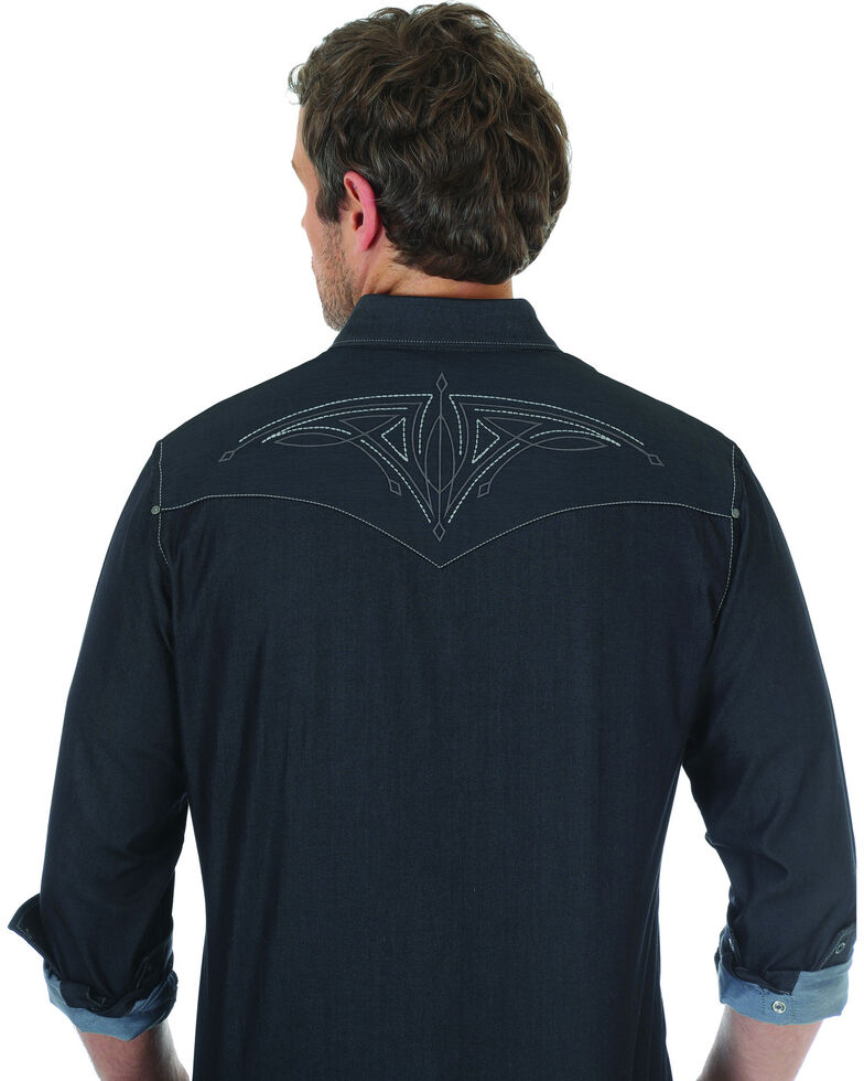 Rock 47 by Wrangler Men's Black Embroidered Long Sleeve Snap Shirt, Black, hi-res