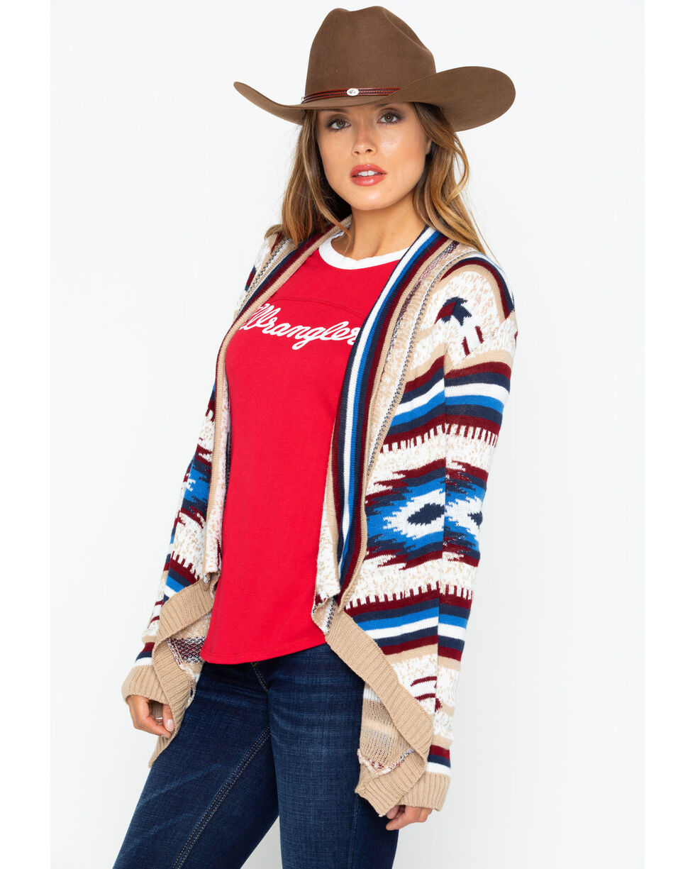 Rock and Roll Cowgirl Women's Americana Aztec Cardigan, , hi-res