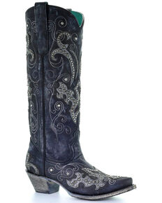 4fdea4049fdb Corral Women s Tall Studded Overlay   Crystals Cowgirl Boots - Snip Toe