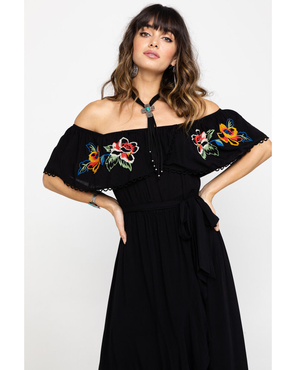 Flying Tomato Women's Embroidered Peasant Off Shoulder Hi Lo Dress, Black, hi-res