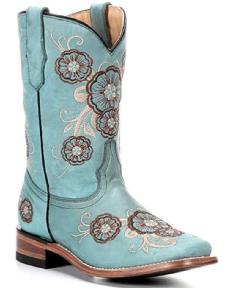 Corral Girls' Embroidered Western Boots, Turquoise, hi-res