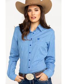 Cinch Women's Small Plaid Logo Button Front Long Sleeve Western Shirt , Royal Blue, hi-res