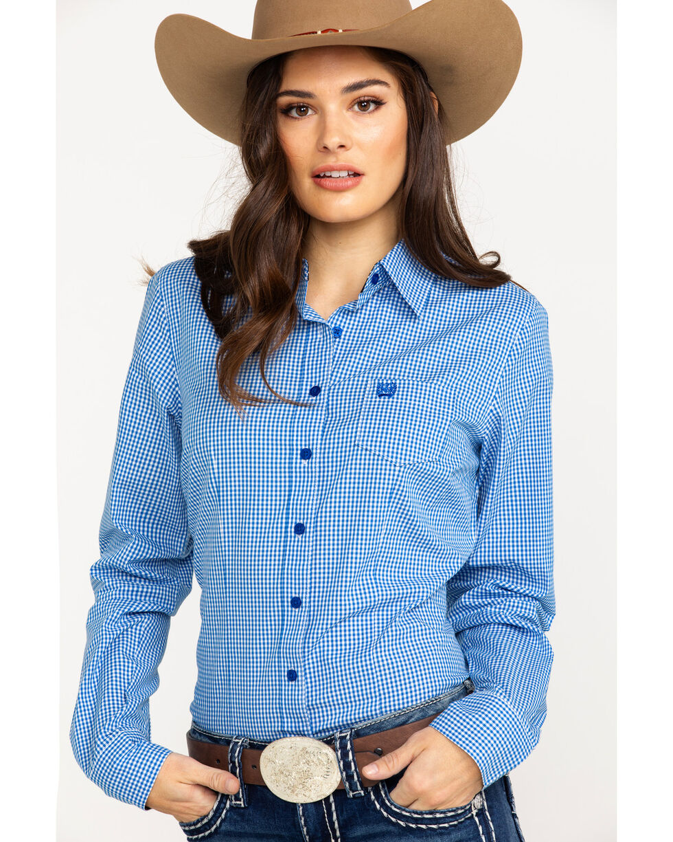 Cinch Women's Small Plaid Logo Button Front Long Sleeve Western Shirt , Royal Blue, hi-res