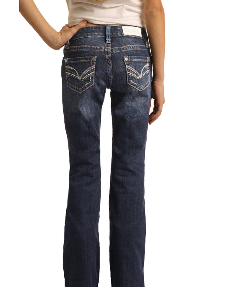Rock & Roll Denim Girls' Dark Wash Stitched Bootcut Jeans , Blue, hi-res