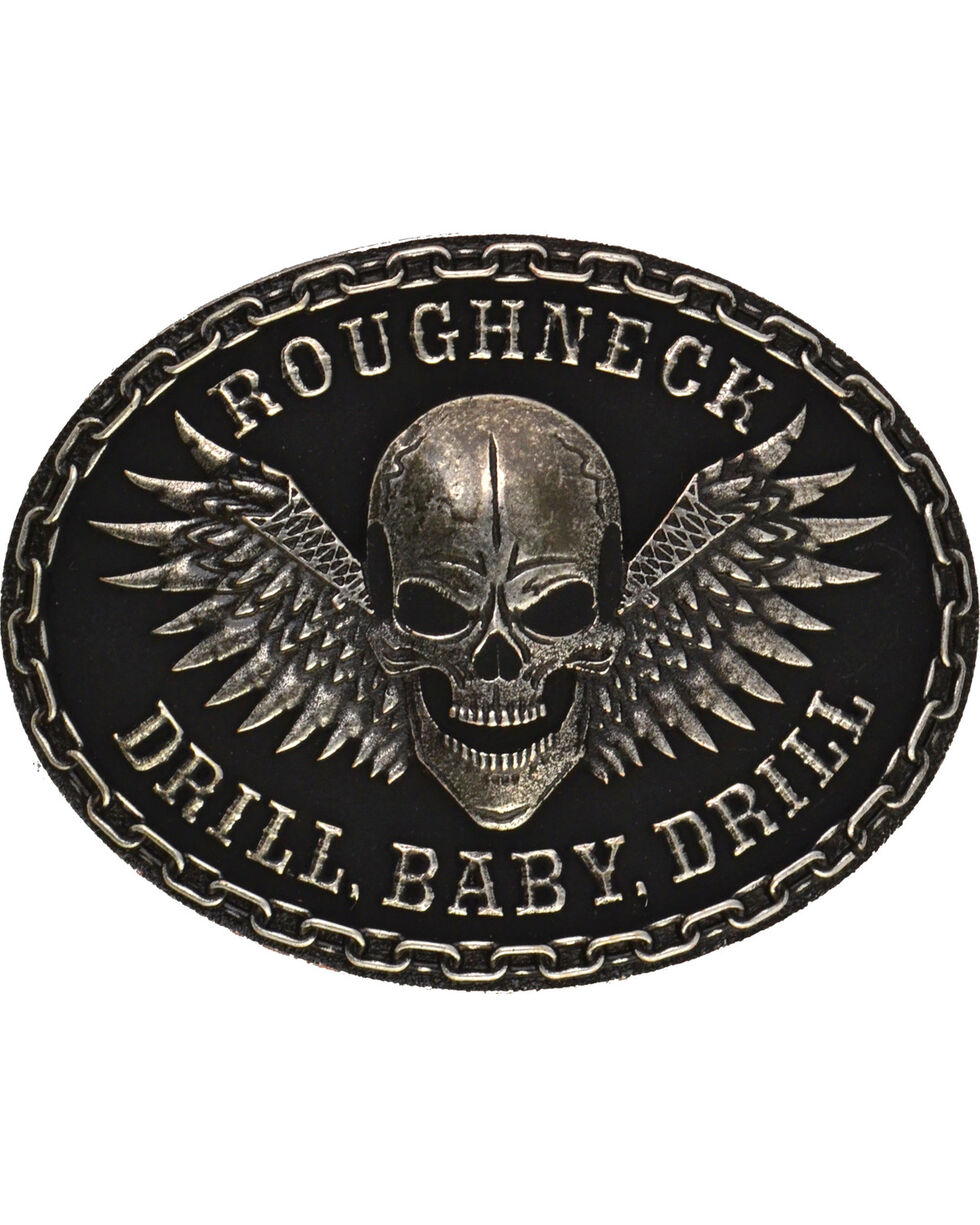 Montana Silversmiths Roughneck Drill Baby Drill Silver-Tone Attitude Buckle, Antique Silver, hi-res