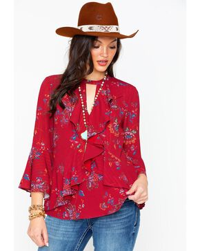 Miss Me Women's Ruffle Bell Sleeve Top, Burgundy, hi-res