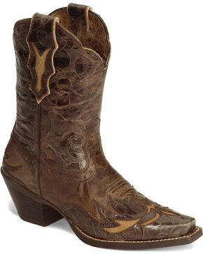 Ariat Women's Dahlia New West Western Shorty Boots, Brown, hi-res