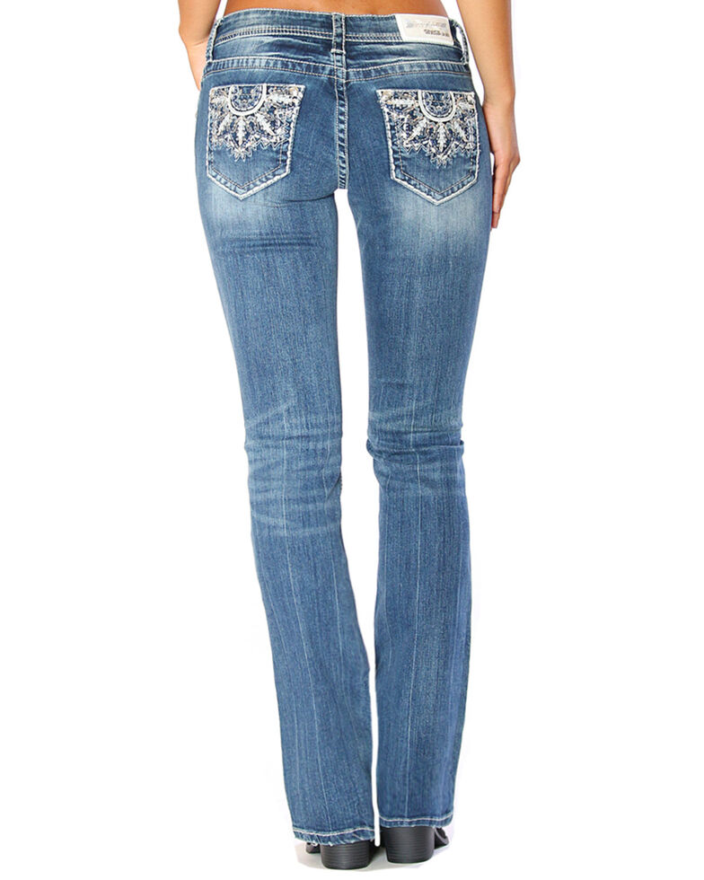 Cheap Grace in LA Women's Medallion Embroidered Easy Boot Cut Jeans for sale
