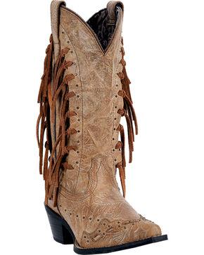 Laredo Women's Fringe Tied Western Boots, Camel, hi-res