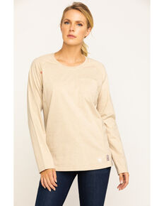 Ariat Women's FR Sand Air Crew Pocket Long Sleeve Work Tee , Sand, hi-res