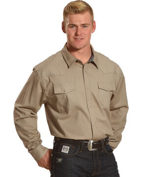 American Worker Men's Rancher Twill Long Sleeve Western Work Shirt - Tall, Beige/khaki, hi-res