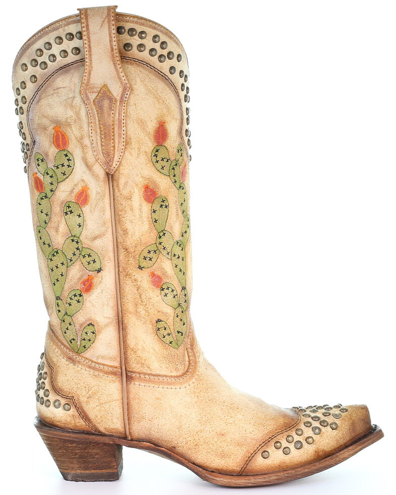 Corral Women's Saddle Cactus Embroidery Western Boots - Snip Toe, Tan, hi-res