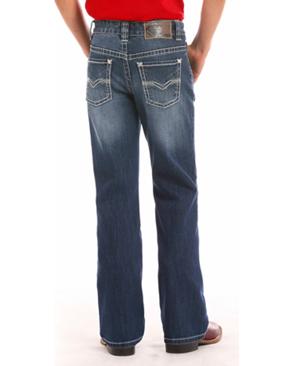 "Rock & Roll Cowboy Boys' (4-20) ReFlex ""V"" Embroidered Jeans - Boot Cut , Indigo, hi-res"