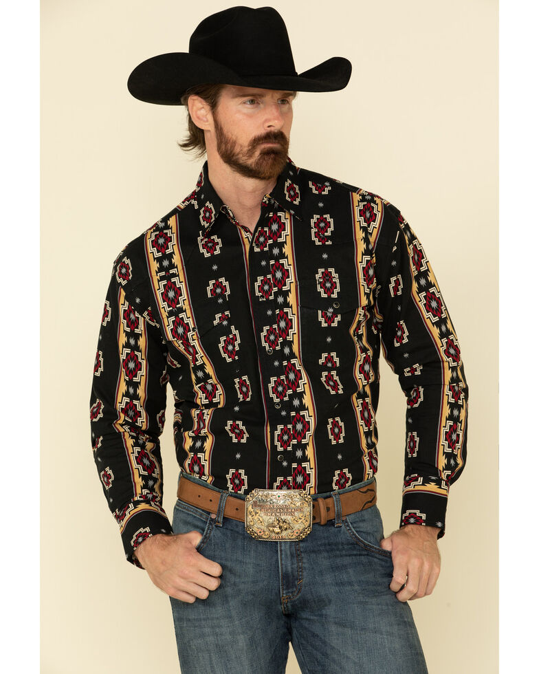 Wrangler Silver Edition Men's Black Aztec Checotah Striped Long Sleeve Western Shirt , Black, hi-res