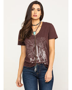 White Crow Women's Brown Desert Scene Graphic Tee , Brown, hi-res