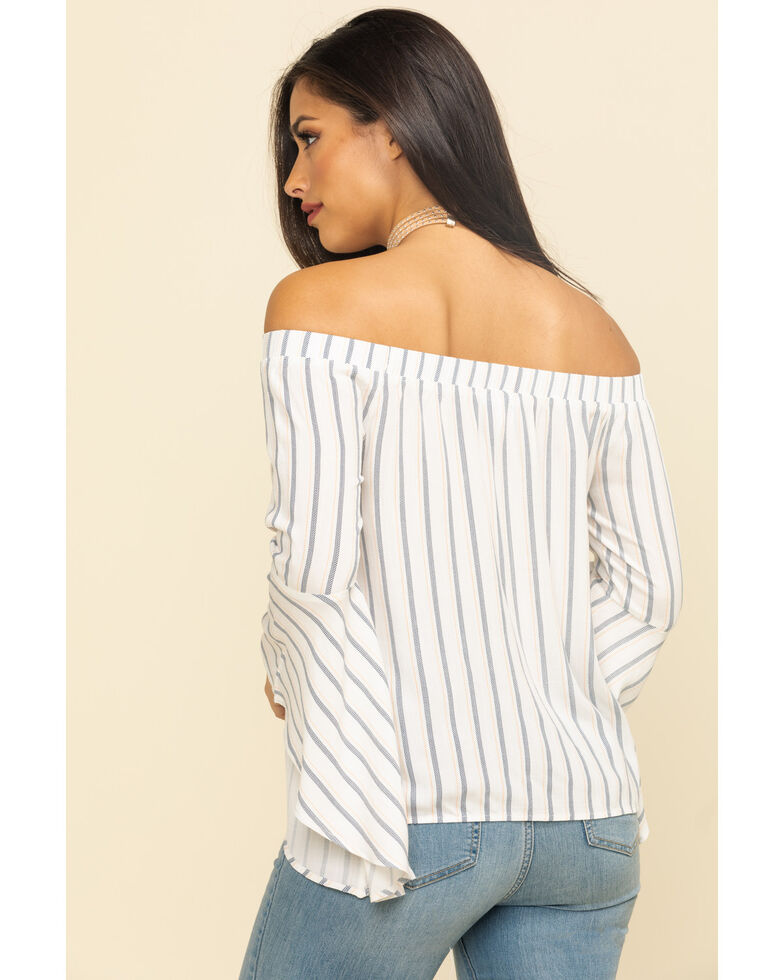 Shyanne Women's Stripe Bell Sleeve Off The Shoulder Top, Ivory, hi-res