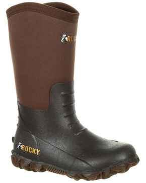 Rocky Youth Boys' Core Rubber Waterproof Outdoor Boots - Round Toe, Dark Brown, hi-res