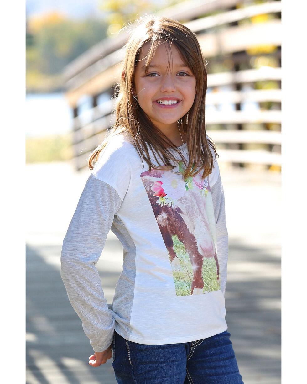 Cruel Girl Girls' Flower Crown Cow Long Sleeve Tee , Heather Grey, hi-res