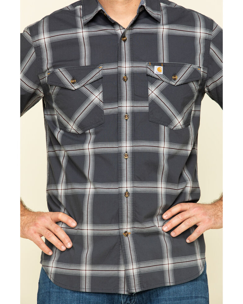 Carhartt Men's Grey Rugged Flex Bozeman Plaid Short Sleeve Work Shirt - Big , , hi-res