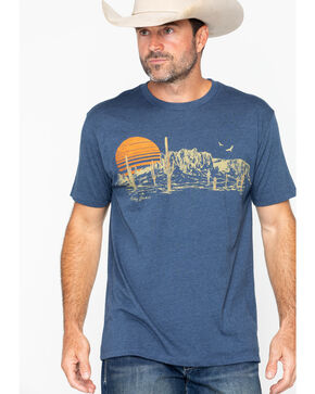 Cody James Men's Scenic Desert Print T-Shirt , Blue, hi-res