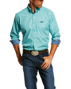 Ariat Men's Turquoise Relentless Devotion Geo Print Long Sleeve Western Shirt  , Turquoise, hi-res