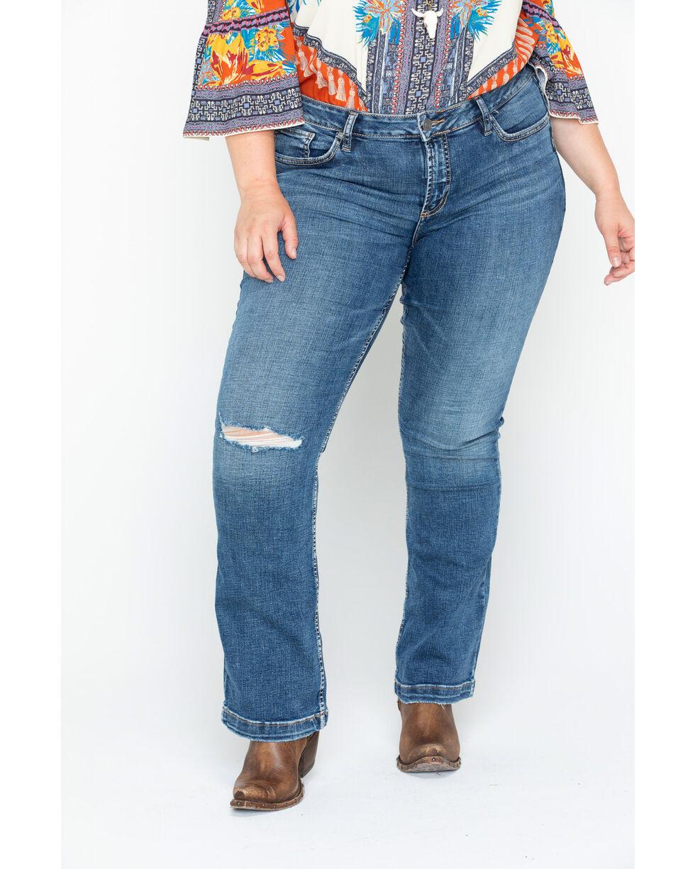 Silver Women's Elyse Distressed Slim Boot Jeans - Plus, Indigo, hi-res