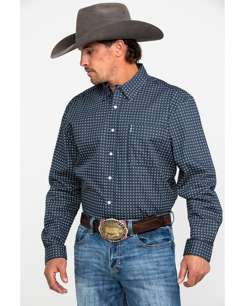 Cinch Men's Navy Modern Geo Print Button Long Sleeve Western Shirt , Navy, hi-res