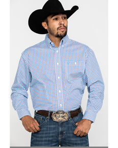 George Strait by Wrangler Men's Light Turquoise Geo Print Long Sleeve Western Shirt - Big, Turquoise, hi-res