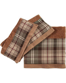 HiEnd Accents Forest Pines Plaid Mocha Towel Set , Brown, hi-res