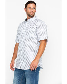 Cody James Core Men's White Orbit Print Short Sleeve Western Shirt, White, hi-res