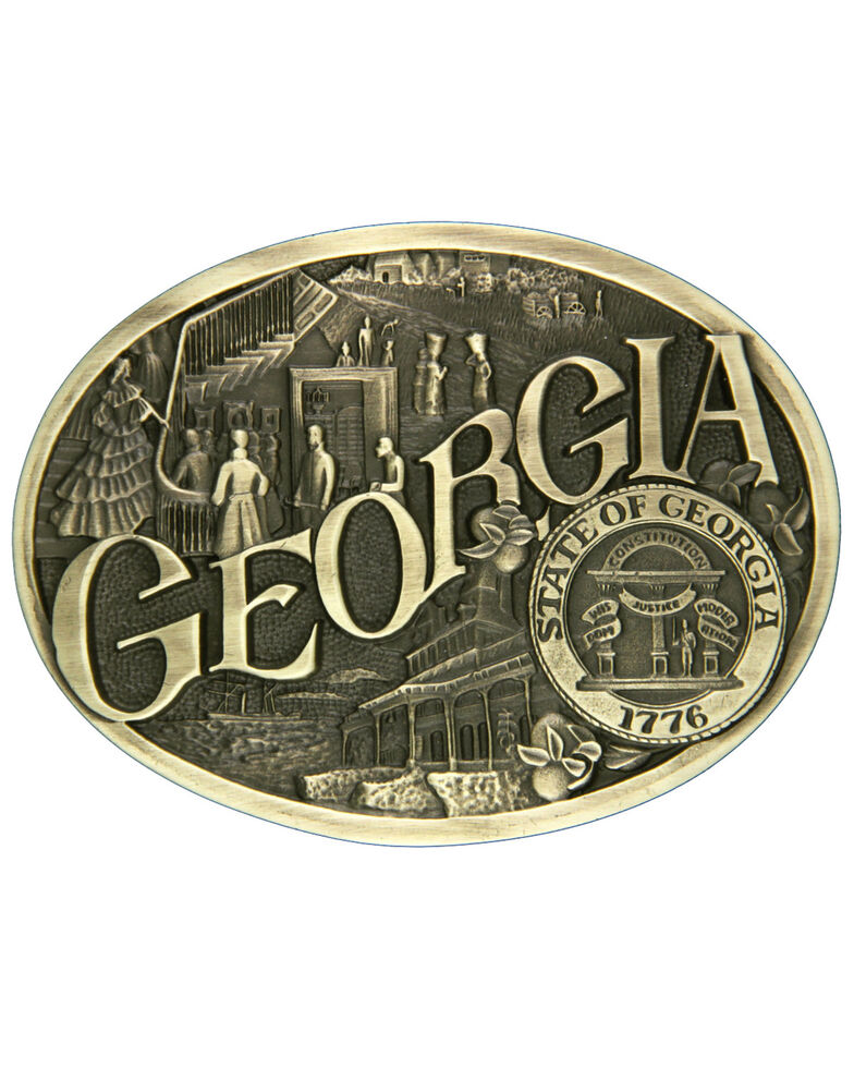 Montana Silversmiths Georgia State Heritage Attitude Belt Buckle, Gold, hi-res